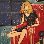 Femme assise - 20x30cm
